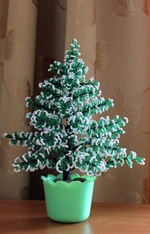 Как сделать новогоднюю елку из бисера?