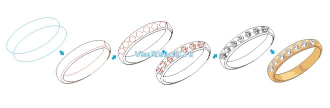 как нарисовать кольцо с камнями