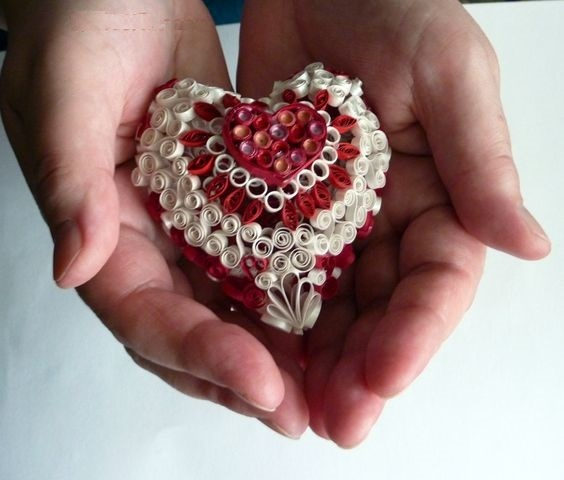Объемное сердце в технике квиллинг