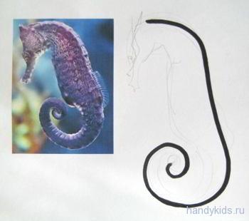 морской конек рисование