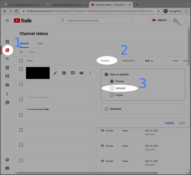 как сделать видео доступным только по ссылке youtube