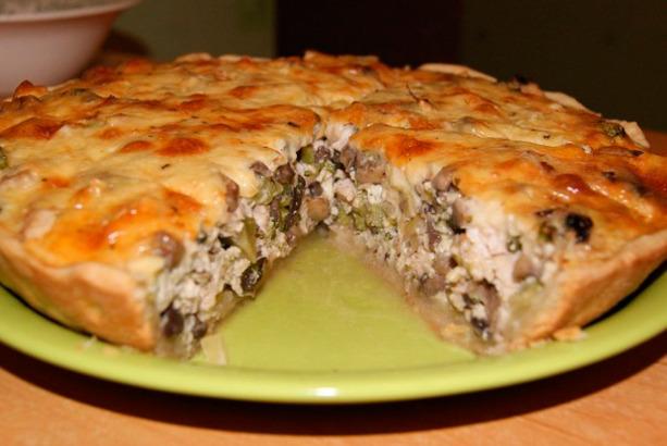 Закрытый пирог с курицей и грибами пошаговый рецепт с фото