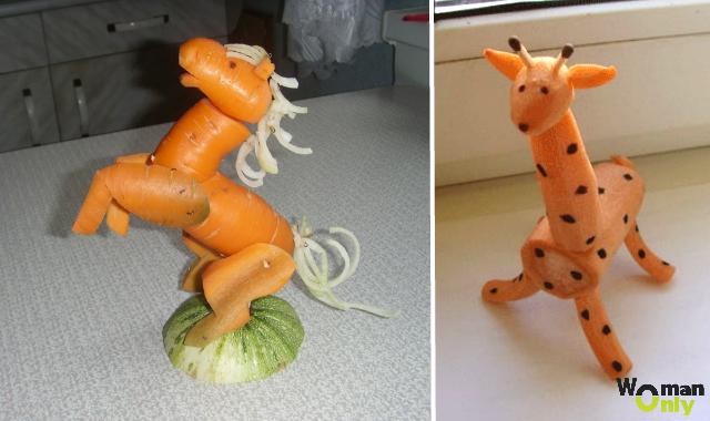 Как сделать жирафа из моркови