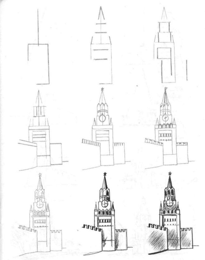 Как поэтапно нарисовать Кремль