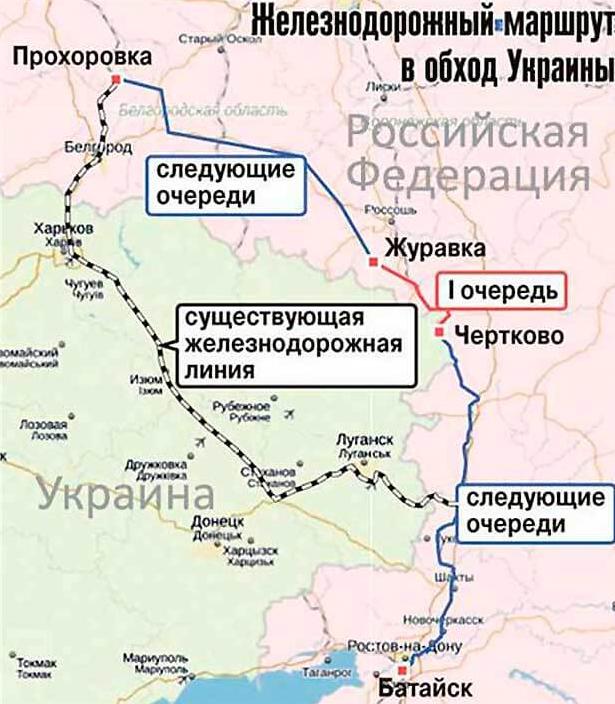 карта путей РЖД в обход Украины