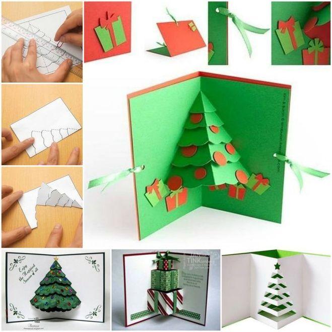 Как делать объемные открытки для нового года