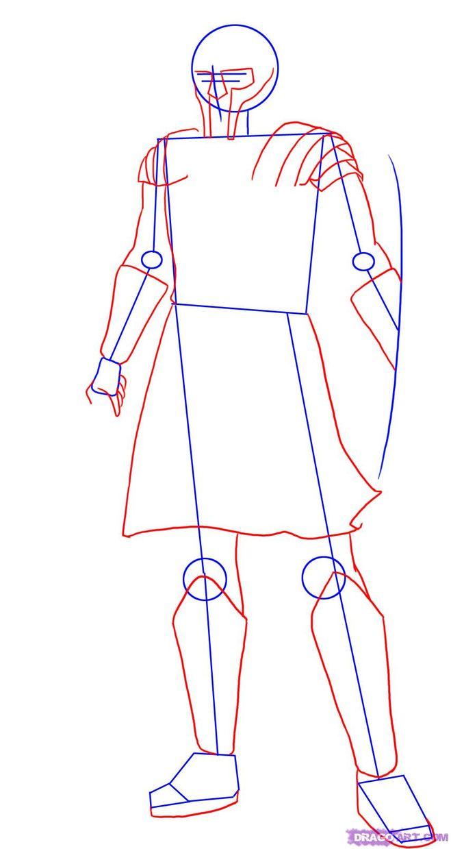Как нарисовать гладиатора поэтапно