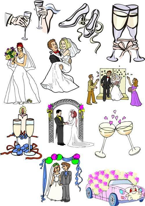 Красивые рисованные картинки жениха и невесты 12