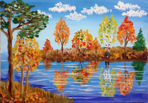 Нарисовать золотую осень красками