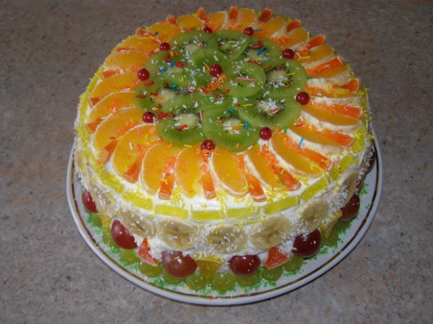 Торт в домашних условиях рецепт с фруктами 157