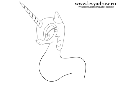 Как нарисовать принцессу Луну карандашом поэтапно