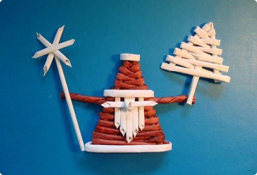 Дед Мороз из газетных трубочек поэтапно