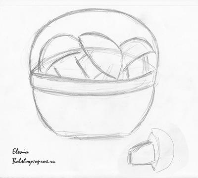 Корзина с грибами поэтапное рисование