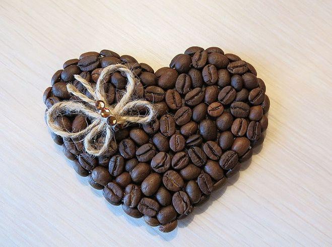 сердце с фотографией кофейное