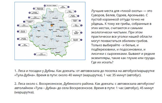 карта грибных мест рядом с Тулой