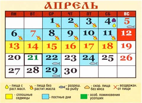 Церковный календарь апрель и май