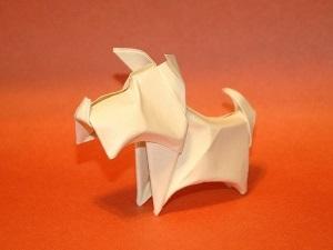 сделать собаку из бумаги, терьер из бумаги, оригами, новый год 2018