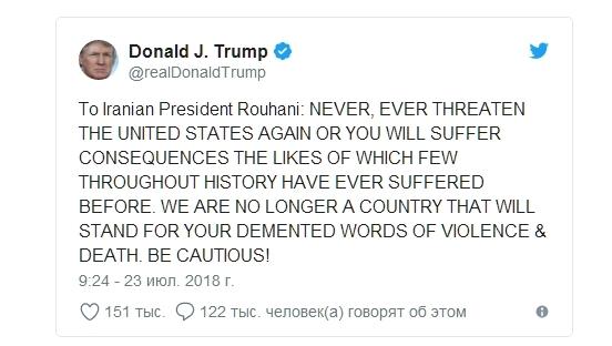 угрозы Трампа Ирану