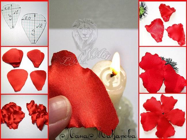 Как сделать цветы из ткани  из атласной ленты
