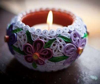 украшение свечи в технике квиллинг