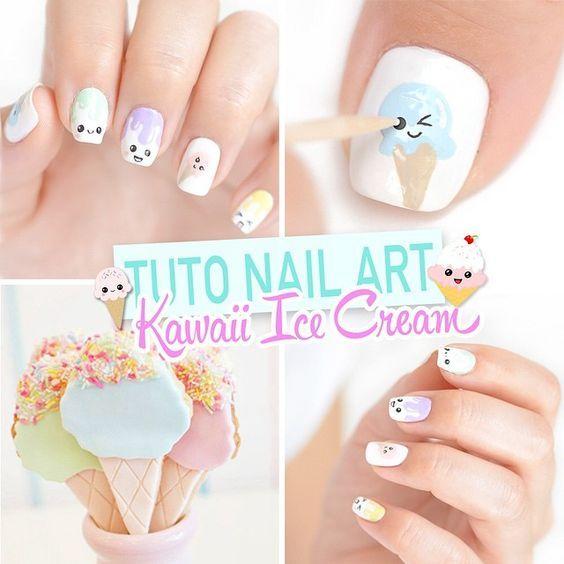 рисунок с мороженым на ногтях мастер-класс
