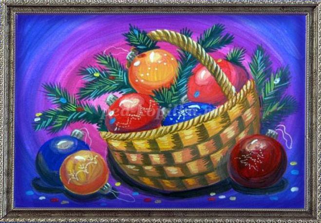 Как нарисовать новогодний натюрморт поэтапно для детей мастер-класс гуашь