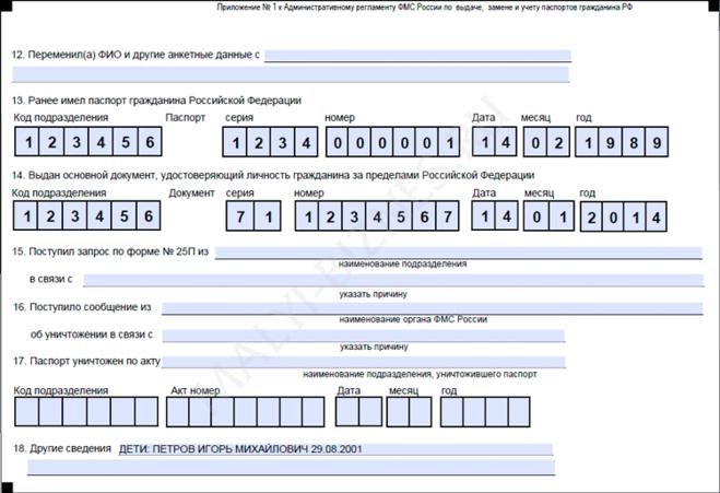 Бланк на Замену Паспорта РФ