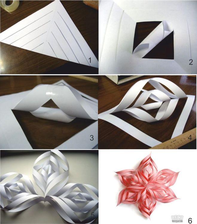 Как сделать из бумаги объемные снежинки из бумаги