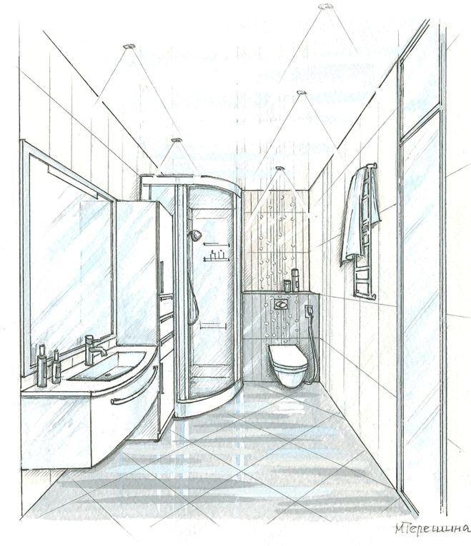 ванной рисунки комнаты карандашом
