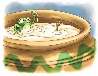 Две лягушки попали в кувшин с молоком