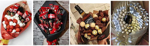 букет напитков и шоколада своими руками на 8 марта