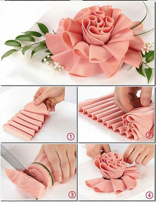 роза из колбасы