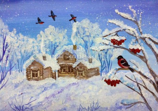 рисунок зимний день и снегири поэтапно для детей - мастер класс