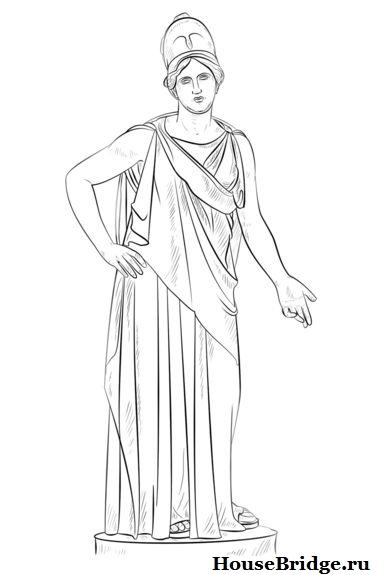 богиня картинки карандашом афина