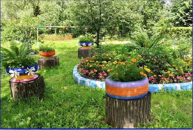 Во дворе как сделать цветник