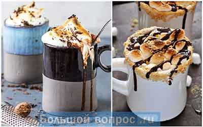 горячий шоколад с обжаренным, тающим маршмеллоу