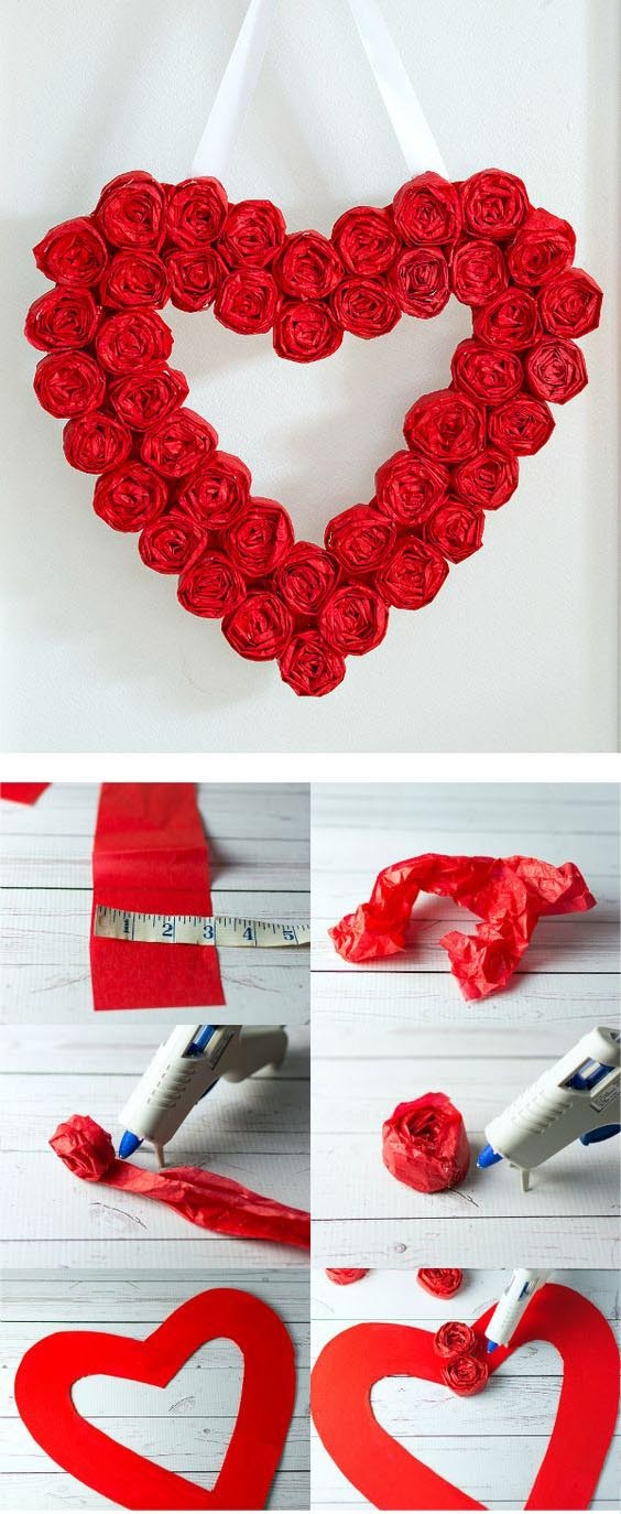 поделка сердце своими руками на день Святого Валентина венок
