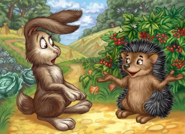 """Какой рисунок нарисовать к сказке братьев Гримм """"Заяц и Еж""""?"""