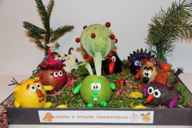 Поделки из овощей и фруктов фото смешарики
