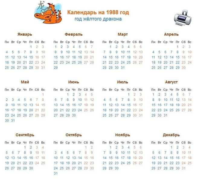 Календарь 1988 июнь