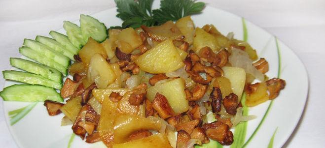 Рецепт жареной картошки с лисичками и луком с фото