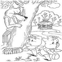 Нарисовать волка из сказки Три поросенка