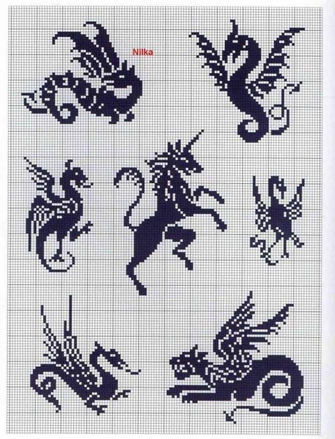 Черно белые вышивки схемы животных
