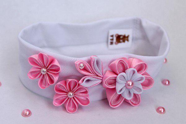 цветок канзаши для повязки на голову