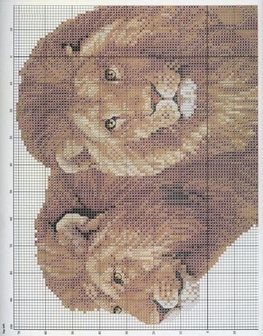 лев схема вышивки