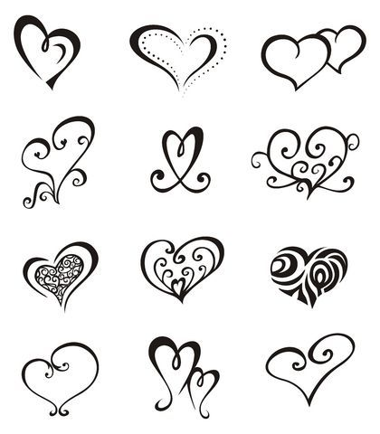 Шаблоны для сердца тату рисунок