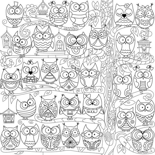 Раскраски антистресс с совами: примеры, где скачать бесплатно?