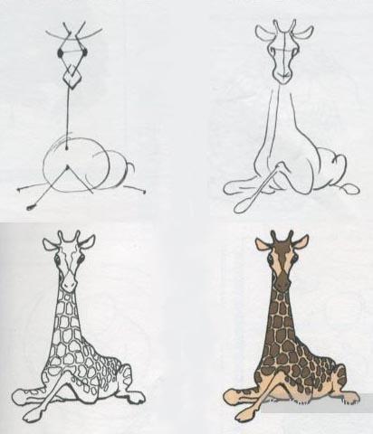 Красивый жираф грациозно сидит