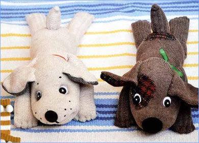 мягкая игрушка собака из носок, собака из носков