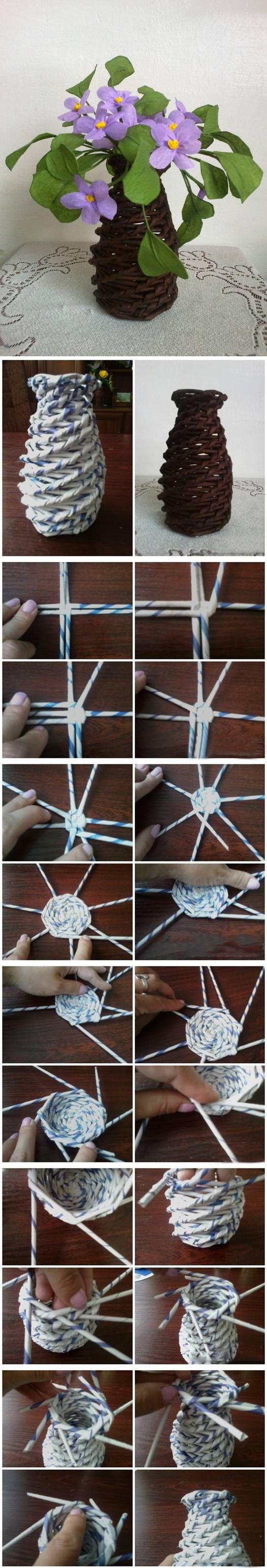 Ваза из газетных трубочек спиральное плетение мастер класс с пошаговым фото